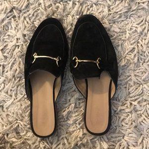 Topshop Black Suede mules
